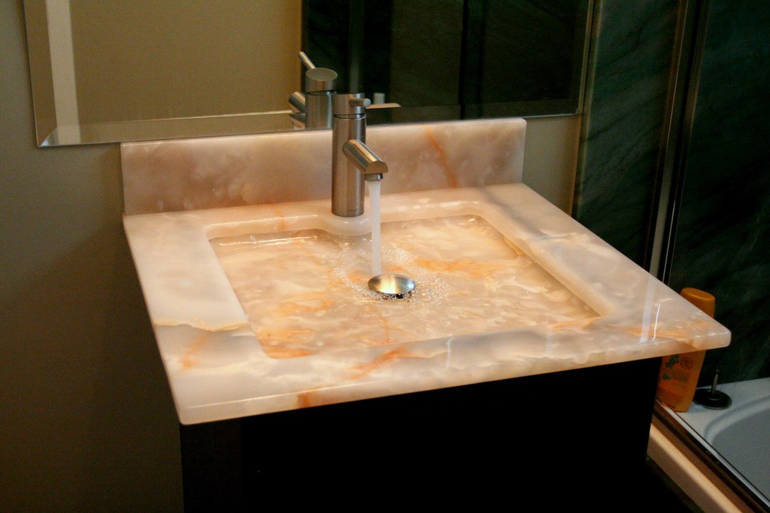 PSW Designed/Fabricated Onyx Vanity with Low Profile SInk