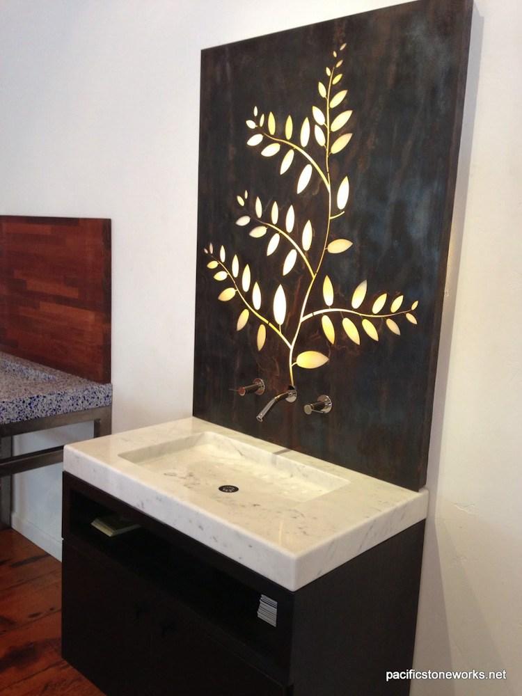 PSW Designed/Fabricated  Custom Milled Marble Vanity (Solid Marble Block)