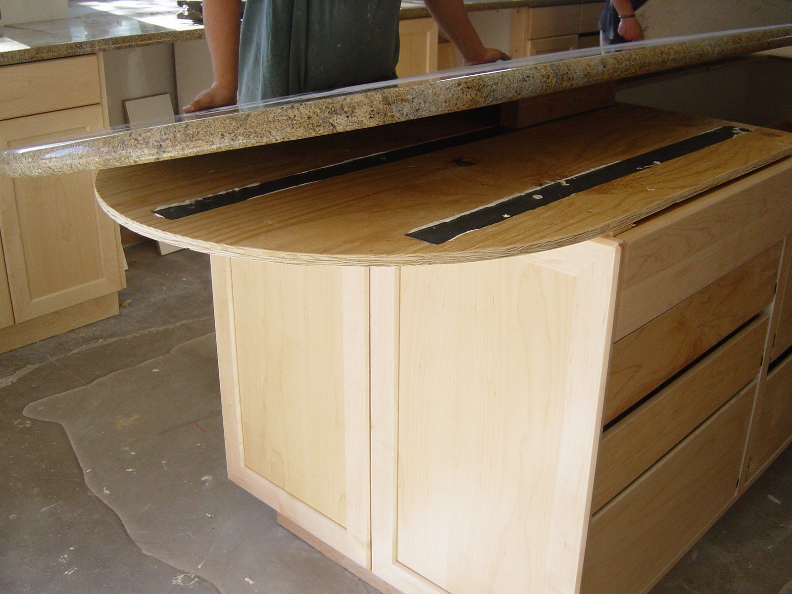 """3/8"""" Steel supports recessed into Plywood Subtop"""