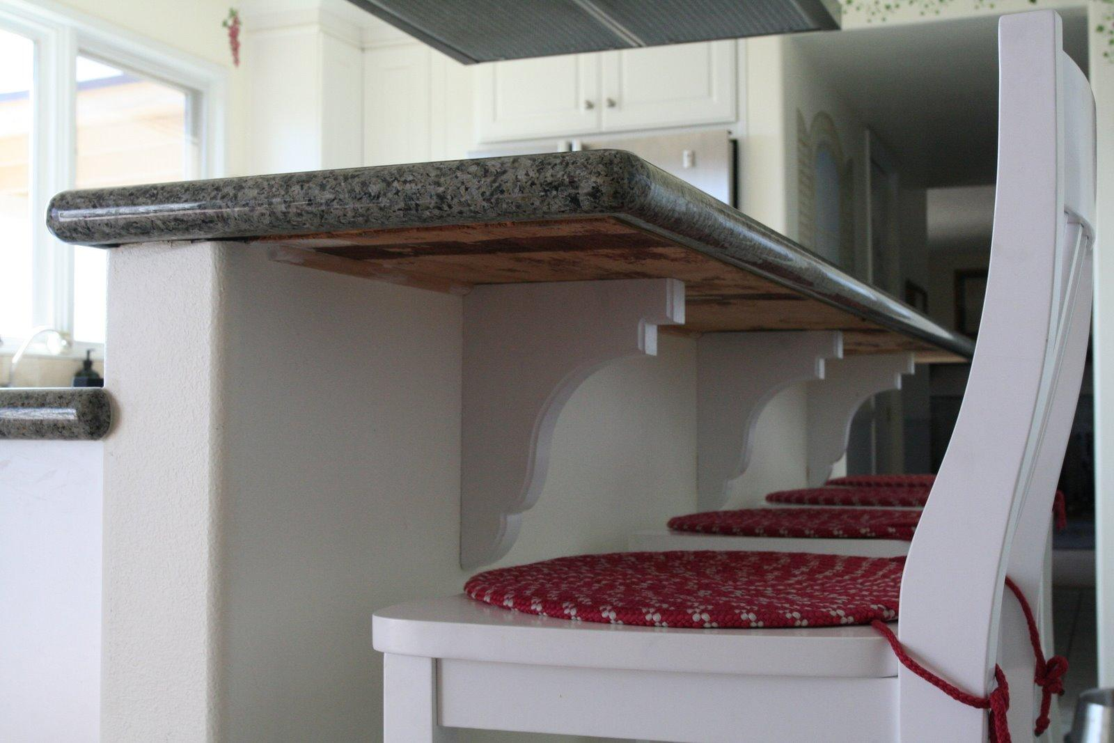 Corbels to supports overhung countertops